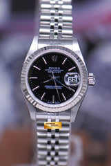 ROLEX OYSTER PERPETUAL DATEJUST 26mm LADIES STAINLESS STEEL BLACK 79174 (NEAR MINT)
