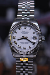ROLEX OYSTER PERPETUAL DATEJUST 31mm BOYSIZE STAINLESS STEEL WHITE 178274 (NEAR MINT)