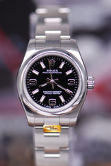 ROLEX OYSTER PERPETUAL 26mm LADIES BLACK 176200 (MINT)