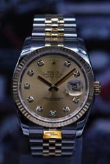 ROLEX OYSTER PERPETUAL DATEJUST 36mm HALF-GOLD DIAMOND GOLD DIAL 116233 (MINT)