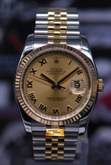 ROLEX OYSTER PERPETUAL DATEJUST 36mm HALF-GOLD GOLD DIAL 116233 (MINT)