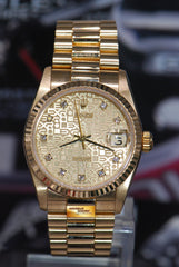 ROLEX OYSTER PERPETUAL DATEJUST 31mm BOYSIZE 18K YELLOW GOLD DIAMOND COMPUTER DIAL 68278 (MINT)