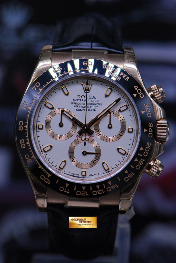 Sold Rolex Oyster Perpetual Daytona 18k Rose Gold Chronograph Black