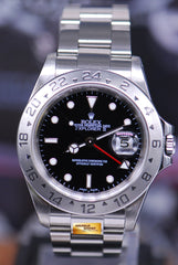 ROLEX OYSTER PERPETUAL EXPLORER II SOLID-END LINKS (PINHOLE) BLACK 16570 (MINT)