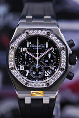 AUDEMARS PIGUET ROYAL OAK OFFSHORE LADIES CHRONOGRAPH DIAMONDS AUTOMATIC 26048SK (MINT)