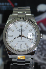 ROLEX OYSTER PERPETUAL DATEJUST II STAINLESS STEEL WHITE GOLD BEZEL WHITE 116334 (MINT)