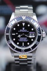 ROLEX OYSTER PERPETUAL SUBMARINER 40mm BLACK 16610 SOLID-END LINKS (NEAR MINT)