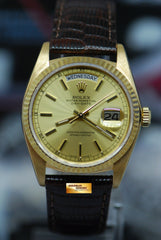 ROLEX OYSTER PERPETUAL DAY-DATE 18K YELLOW GOLD 36mm GOLD DIAL AUTOMATIC 18038 (NEAR MINT)