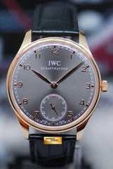 IWC PORTUGIESER HAND-WOUND 18K ROSE GOLD 44mm DARK GREY DIAL IW5454-06 (LNIB)