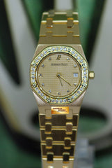 [SOLD] AUDEMARS PIGUET ROYAL OAK 18K YELLOW GOLD DIAMOND DIAL & BEZEL 24mm LADIES QUARTZ (NEAR MINT)