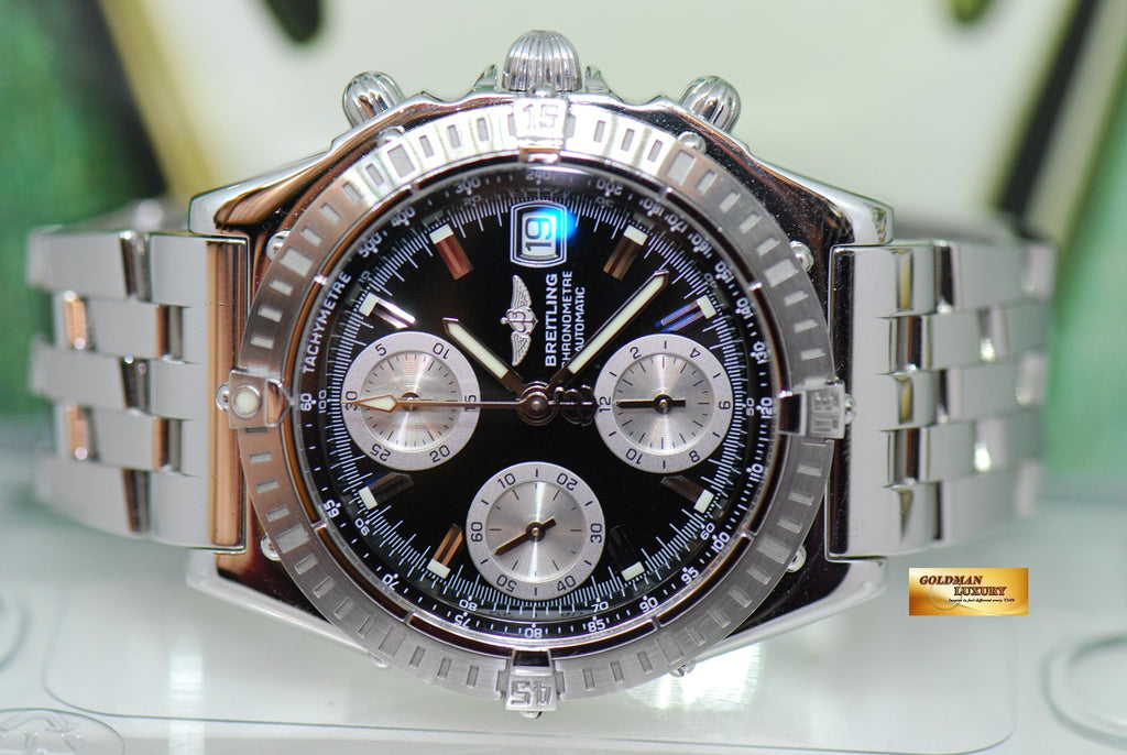 SOLD BREITLING CHRONOMAT CHRONOGRAPH SS 39mm BLACK AUTOMATIC A13352 NEAR MINT