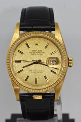 ROLEX OYSTER PERPETUAL DATEJUST 36mm 18K YELLOW GOLD LINEN DIAL 16018 (NEAR MINT)