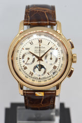 ZENITH EL PRIMERO CHRONOMASTER ANNUAL CALENDAR MOONPHASE 18K ROSE GOLD AUTOMATIC 17-0240-410 (MINT)
