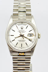 ROLEX OYSTER PERPETUAL DAY-DATE 36mm 18K WHITE GOLD IN BRACELET DOUBLE QUICK-SET DATE 18239 (MINT)