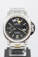 PANERAI LUMINOR MARINA 44mm STEEL IN BRACELET AUTOMATIC BLACK PAM 220 (MINT)