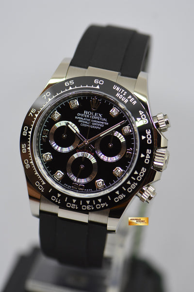 Rolex Oyster Perpetual Daytona White Gold In Rubber Strap