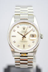 ROLEX OYSTER PERPETUAL 36mm PLATINUM IN BRACELET DIAMOND DIAL AUTOMATIC 18206 (MINT)