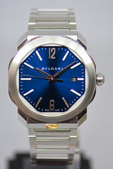 [SOLD] BVLGARI OCTO ROMA STEEL IN BRACELET BLUE DIAL OC41S AUTOMATIC (MINT)