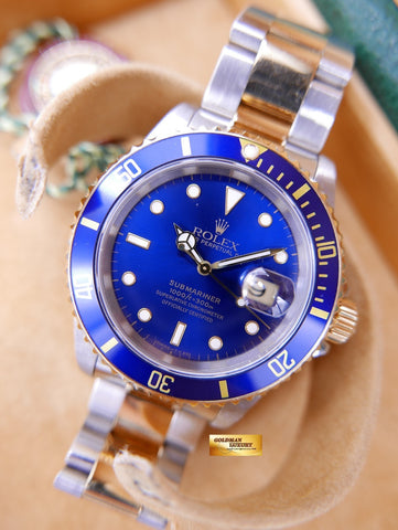 [SOLD] ROLEX OYSTER SUBMARINER HALF-GOLD BLUE Ref 16613 AUTOMATIC