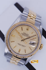 [SOLD]  ROLEX OYSTER DATEJUST 36mm GENTS HALF-GOLD ROMAN DIAL Ref : 16233 (NEAR MINT)