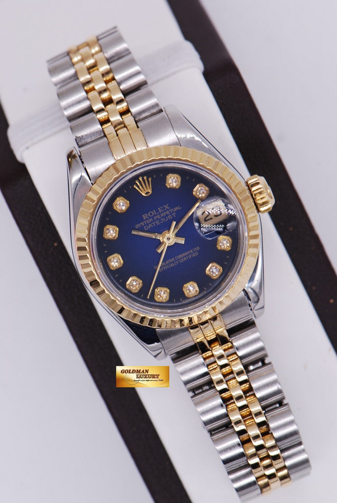 sold rolex oyster perpetual datejust halfgold ladies