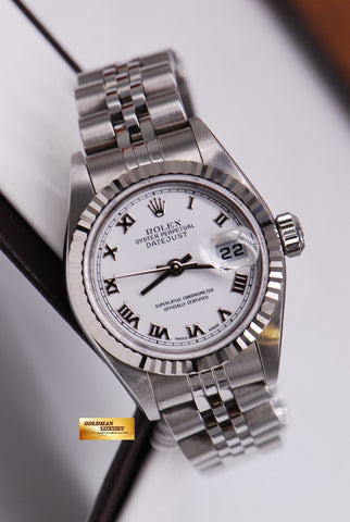 [SOLD] ROLEX OYSTER PERPETUAL DATEJUST LADIES WHITE ROMAN DIAL Ref 79174