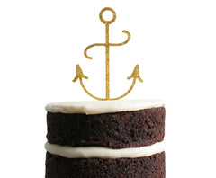 Anchor Dessert Topper - Gold Glitter