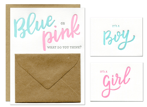 Blue or Pink Gender Reveal Card (includes boy and girl inserts)
