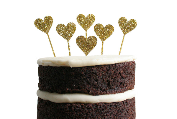 Heart Dessert Topper - Gold Glitter