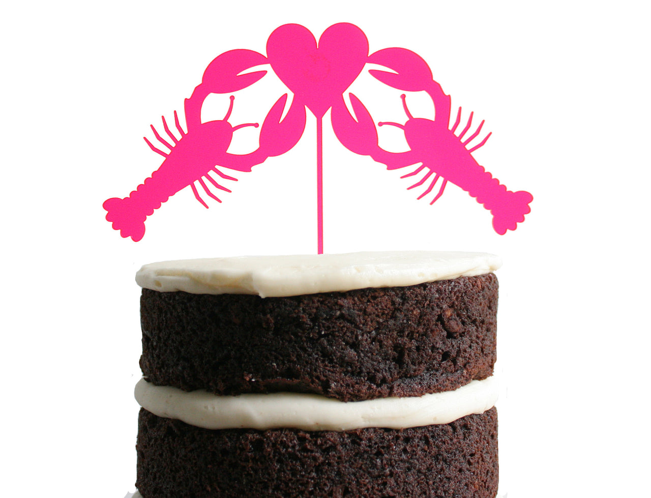 Lobster Love Dessert Topper - Neon Pink