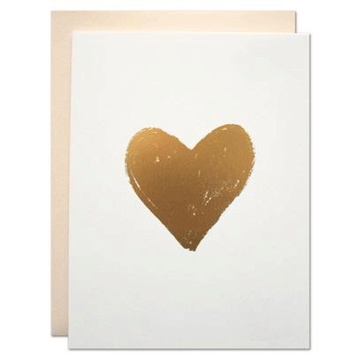 Golden Brush Heart Card
