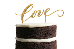 Love Lettered Dessert Topper - Gold Glitter