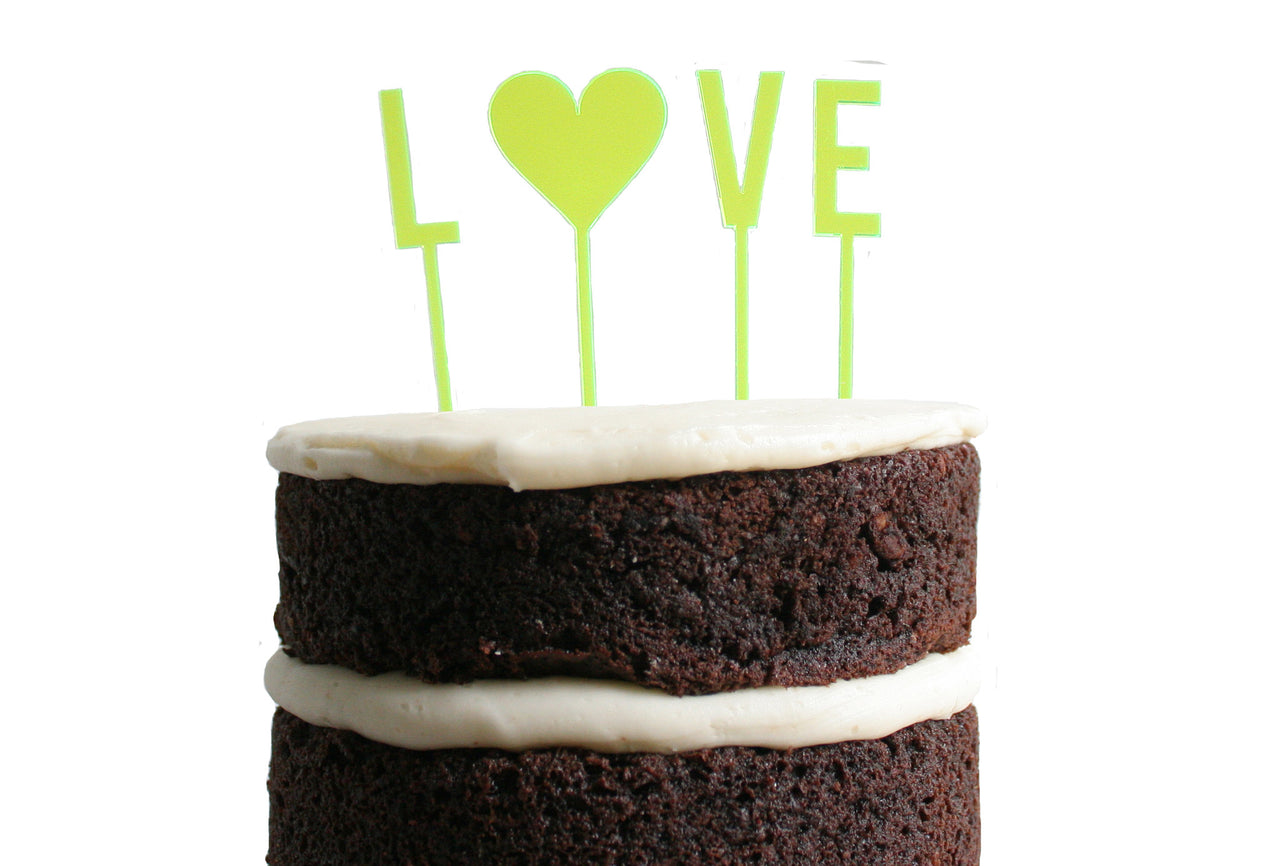 Love Dessert Topper - Neon Yellow