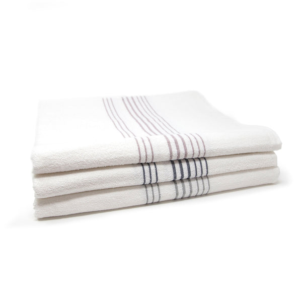 Three towels stacked with three lavender, navy, and grey stripes