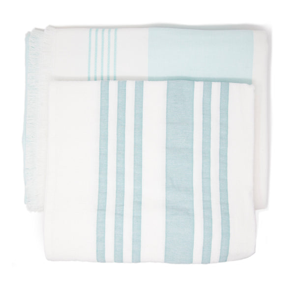 Two white towels with blue stripes