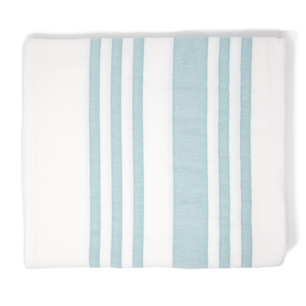 White square towel with turquoise stripes