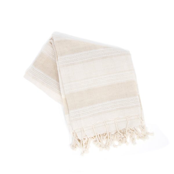 Off-white towel with thick beige stripes