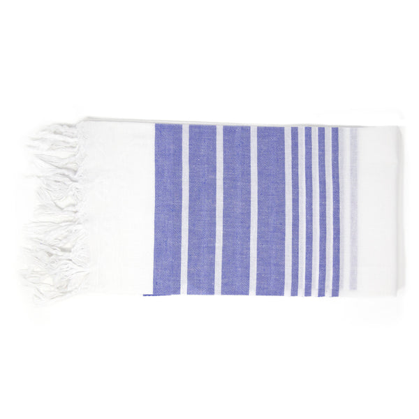 Large white towel with thick deep blue stripes
