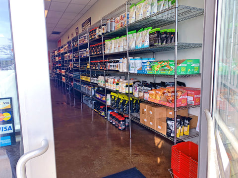 Inside the store from the front door of Portland Nutrition Corner in Portland, Maine.