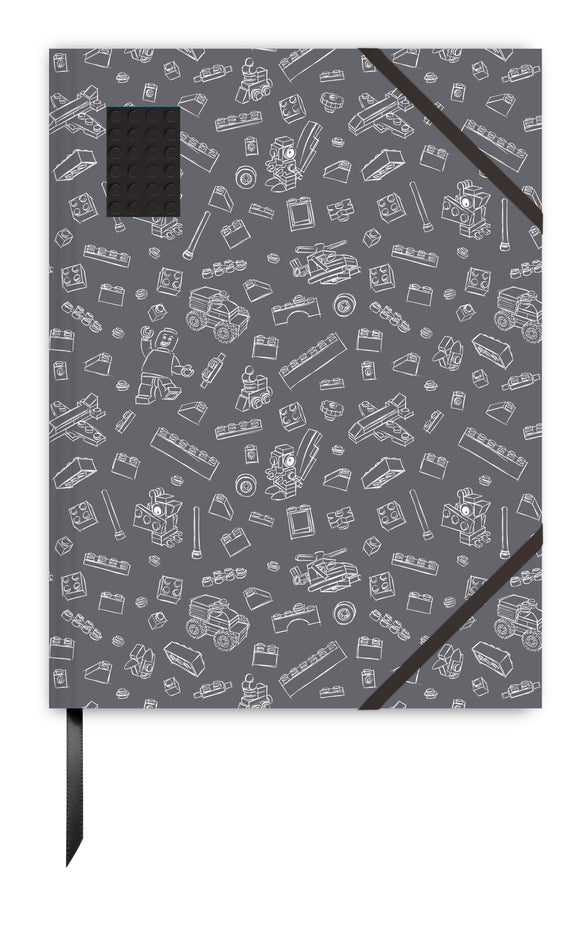 LEGO Stationery 4X6  Embedded Brick Notebook - Grey