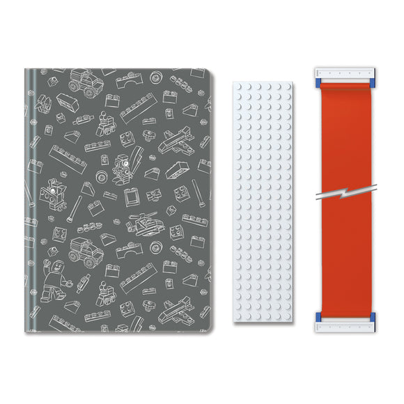 LEGO Stationery Journal with Building Band  - Grey