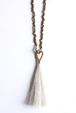 Brass Wrapped Horsehair Tassel Necklace