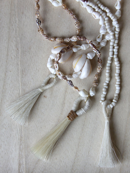 Vintage Shell Bead Tassel Necklace