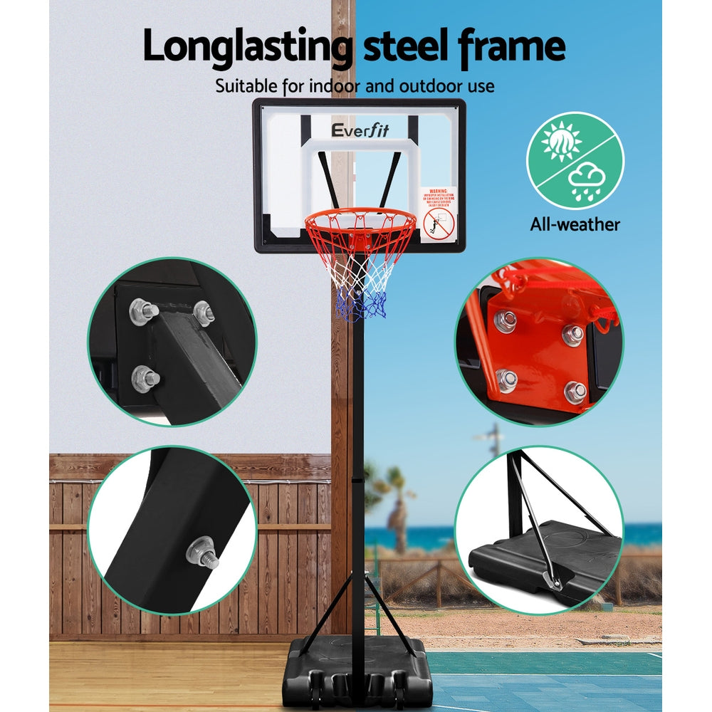 Everfit Adjustable Portable Basketball Stand Hoop System Rim