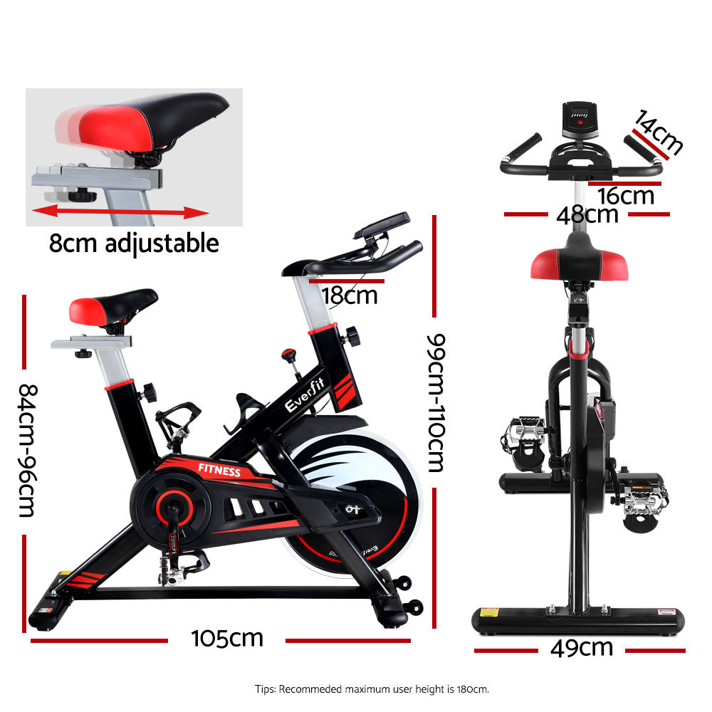 Everfit MOVE Exercise Bike Fitness Bicycle | Home and Commercial Spin Bikes - Black