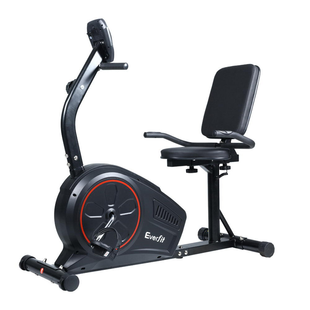 Everfit Magnetic Recumbent Exercise Bike Fitness Trainer Home Gym Equipment Black - Everfit
