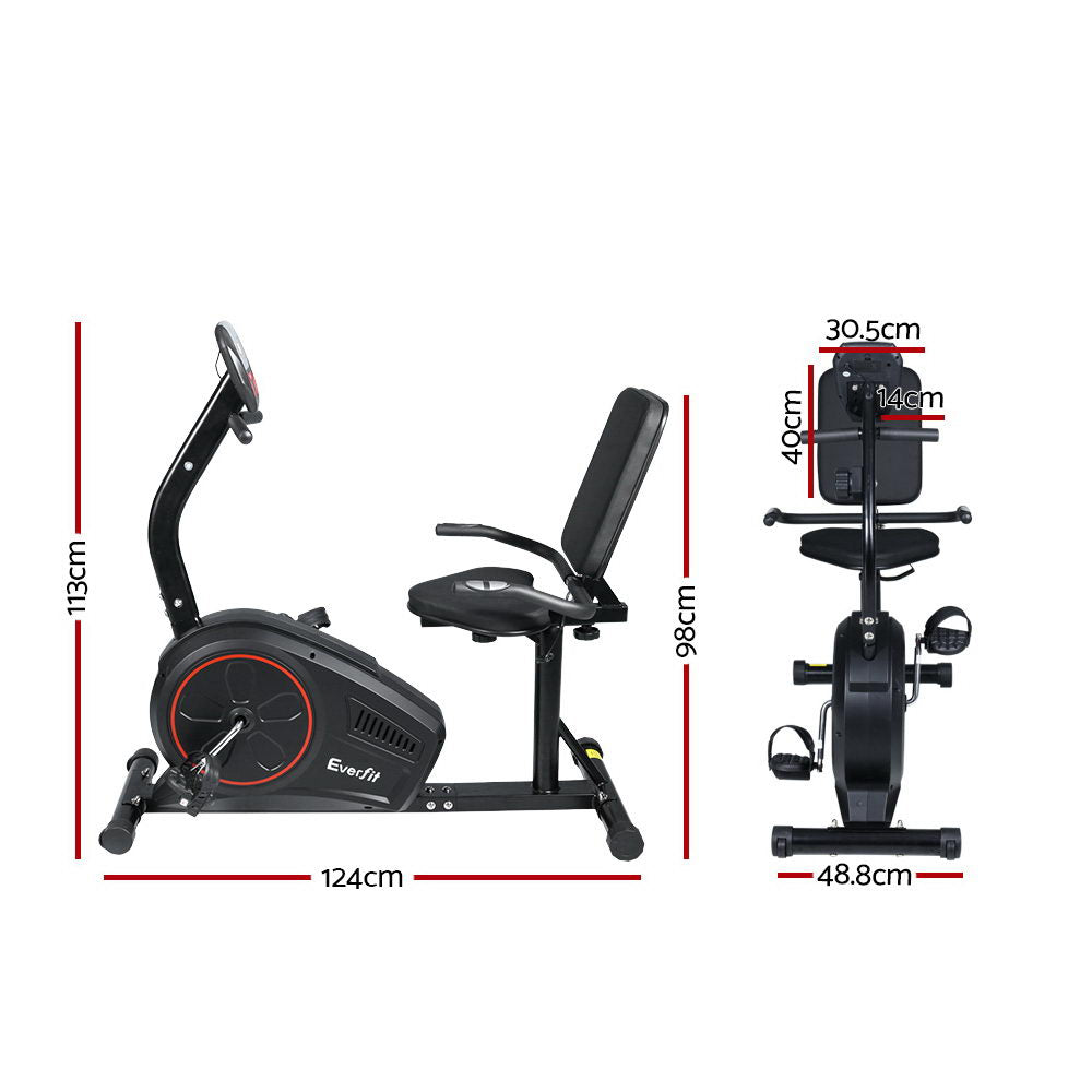 Everfit Magnetic Recumbent Exercise Bike Fitness Trainer Home Gym Equipment Black