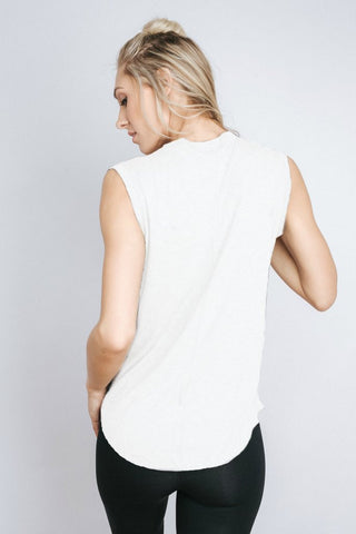 Free Label White Del Muscle Tank
