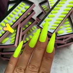 Neon Green Faux Ongles Long Stiletto Artificial Fake Nails With Glue Sticker