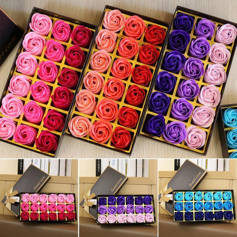 3 Colors 18Pcs/box Simulation Rose Soap with Gift Box - SourcesOfBeauty